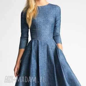 ręcznie wykonane sukienki kieszenie sukienka zuza midi denim