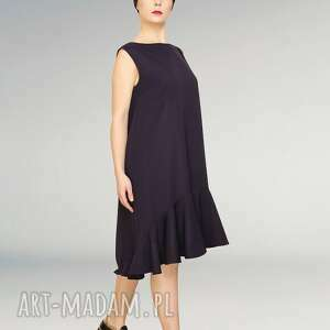 trendy sukienki falbana wełniana elegancka sukienka
