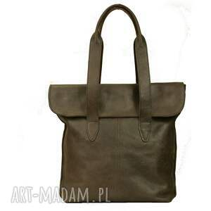 unikalne torebki torba oliwkowa z klapką ze skóry