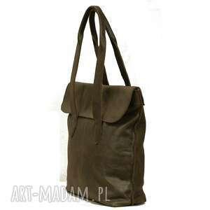 torebki torebka oliwkowa torba z klapką ze skóry