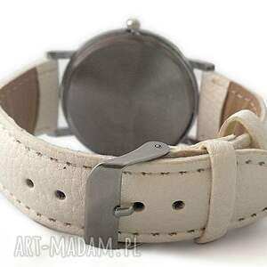 zegarek zegarki czerwone zakochane ptaszki - skórzany